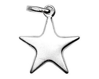 Star Charm Sterling Silver Satin Finish Celestial Pendant