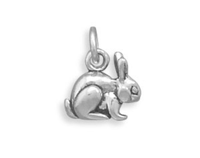 Featured listing image: Bunny Rabbit Charm Sterling Silver Pendant 3D Bunny Animal Pet Easter