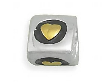 Tri-Color Heart Charm Bead Sterling Silver Three Sided Silver Black Gold Design