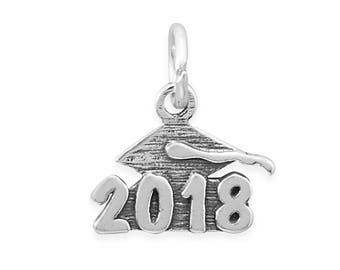 Sterling Silver 2018 Number Charm Oxidized Finish Year Date Graduation
