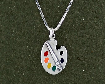 Sterling Silver Art Paint Palette Charm Pendant Necklace Multicolor with Box Chain