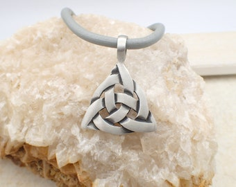 Celtic Triquetra Pendant Necklace Leather Charm Stainless Steel Magnetic Clasp