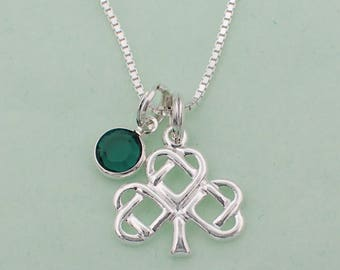 Celtic Shamrock Pendant Necklace Sterling Silver Clover Swarovski Crystal Accent