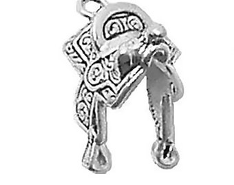 Horse Saddle Charm Sterling Silver Pendant 3d Cowboy Cowgirl