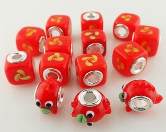 14 Orange Glass Beads Swirl & Goldfish Charm Sterling Silver Core Large Hole