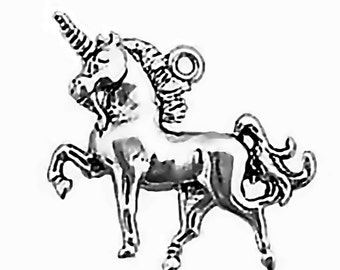 Unicorn Charm Sterling Silver Pendant 3D Prancing Horned Horse Animal Fantasy