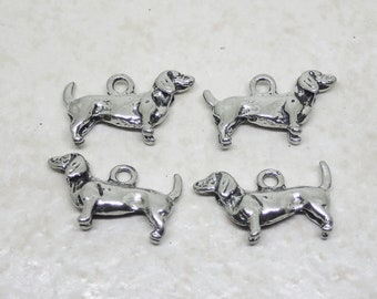 CLEARANCE Dachshund Charm set of 4 Pewter Silver Plated 3D Animal Dog Pet