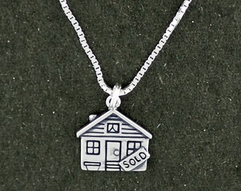 Sold Sign House Real Estate Pendant Necklace Sterling Silver with Box Chain