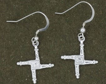 St. Brigid's Cross Earrings Silver Plated Brass with Sterling Silver French Wires