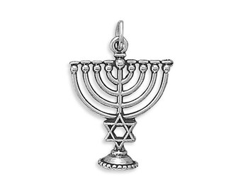 Sterling Silver Menorah Charm Star of David Pendant Hanukkah