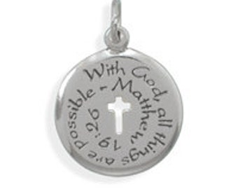 Sterling Silver Matthew 19:26 With God All Things Are Possible Pendant Charm