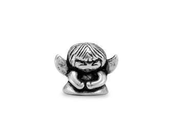 Little Angel Charm Bead Sterling Silver Religious Guardian Angel Wings
