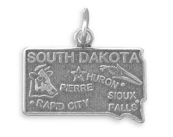 Sterling Silver South Dakota State Charm America Cow Corn Rapid City Huron
