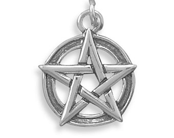 Pentacle Charm Sterling Silver Pendant Pentagram 15mm diameter