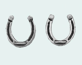 Horseshoe Earrings Sterling Silver Posts Studs Tiny Mini Horse Shoe Cowboy Cowgirl