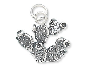 Prickly Pear Cactus Charm 925 Sterling Silver Pendant Desert Plant 3D