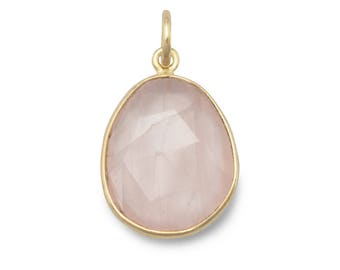 Faceted Rose Quartz Pendant 14 Karat Gold Plated 925 Sterling Silver Free Form Shape