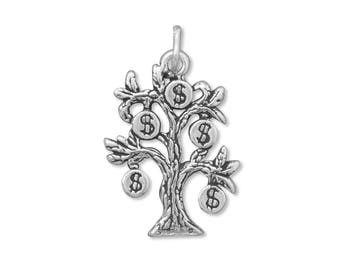 Sterling Silver Money Tree Charm Pendant Dollar Sign