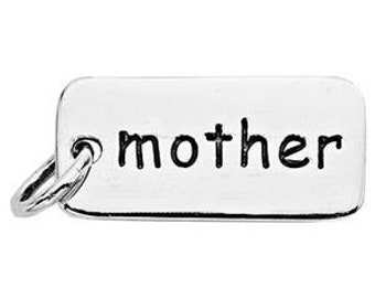 Mother Charm Sterling Silver Dainty Family Pendant Message Word