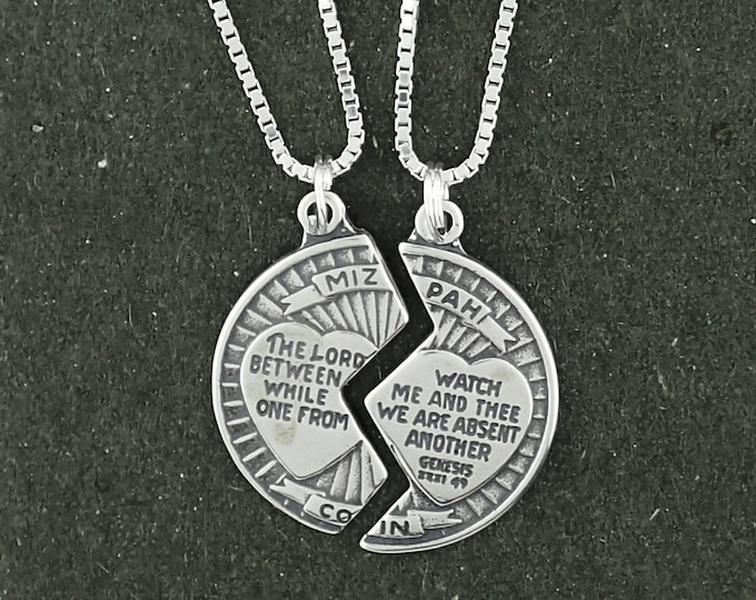 Featured listing image: Sterling Silver Mizpah Coin Pendant Necklace Set of Two Charms With Box Chains