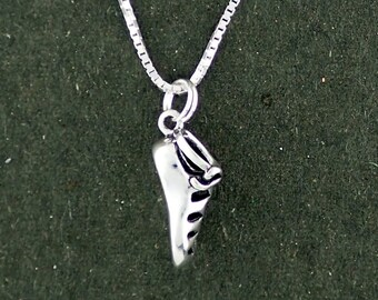 Sterling Silver Irish Dance Shoe Ghillie Gillie Pendant Necklace With Box Chain 3D