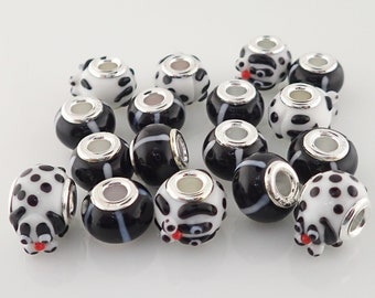 Lot of 17 Black White Glass Beads Stripe & Dog Charm Sterling Silver Core Large Hole