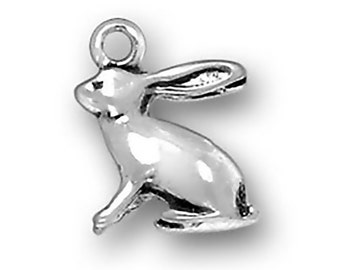 Sterling Silver Bunny Rabbit Charm Pendant 3D Animal Easter