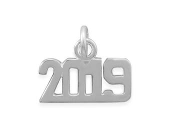Sterling Silver 2019 Number Charm Polished Finish Year Date Graduation