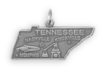 Sterling Silver Tennessee State Charm America Volunteer Memphis Nashville