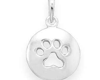Sterling Silver Paw Print Pendant Charm Round Pawprint