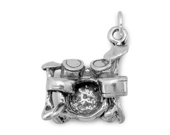 Drum Set Charm 925 Sterling Silver Pendant Music Instrument Drummer