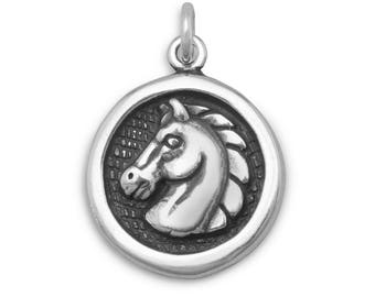 Horse Charm 925 Sterling Silver Round Pendant Face Mane Profile Cowboy Cowgirl