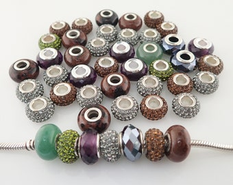 46 Beads Crystal Glass Stone Sterling Silver Core Large Hole Charm green brown