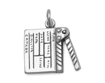 Sterling Silver Movie Director Clap Board Charm Top Moves 3D Pendant