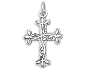 Cross Charm 925 Sterling Silver Pendant religious vines scrolls