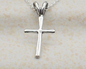 Small Cross Necklace Sterling Silver Dainty Cross Charm Religious Pendant Cable Chain