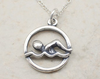 Swimming Necklace Sterling Silver Swimmer Charm Pendant Water Waves