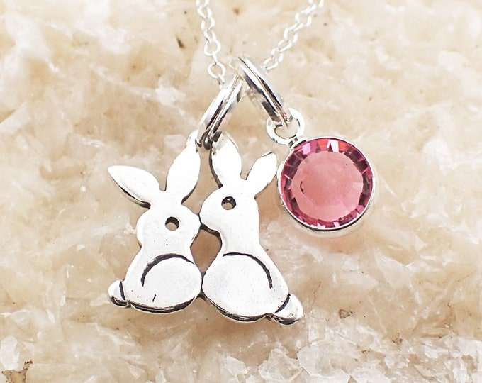 Featured listing image: Kissing Bunny Rabbit Necklace Sterling Silver Swarovski Crystal Accent Charm Pendant Cable Chain Birth Month