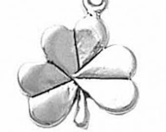 Sterling Silver Shamrock Irish Clover Charm Pendant