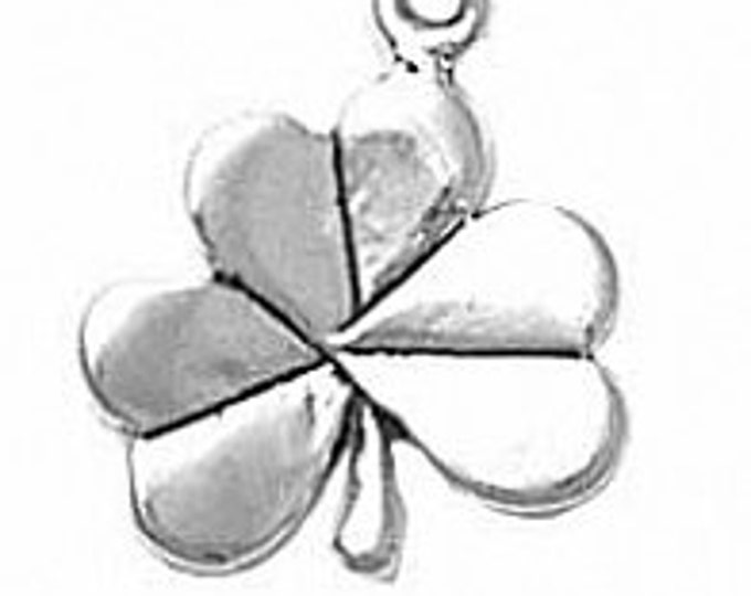 Featured listing image: Sterling Silver Shamrock Irish Clover Charm Pendant
