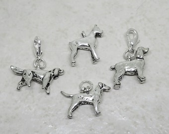 CLEARANCE Dog Charms Irish Setter Cocker Spaniel Boxer Silver Plated Pewter Pendants