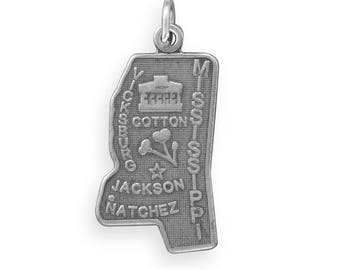 Sterling Silver Mississippi State Charm America Magnolia Cotton Jackson