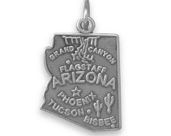 Sterling Silver Arizona State Charm America Cactus Grand Canyon Tucson