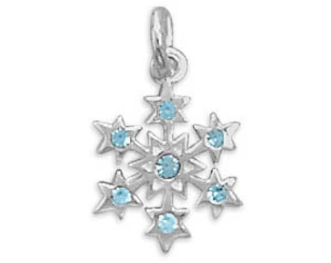 Featured listing image: CLEARANCE Sterling Silver Snowflake Charm With Blue Crystals Winter Christmas