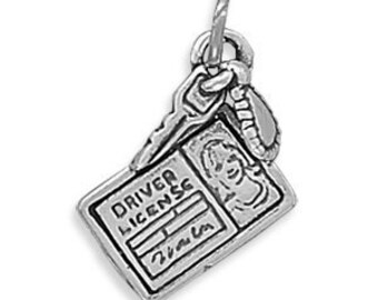 Driver License Charm Sterling Silver Pendant Keys Girl