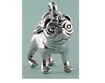 Sterling Silver Wrinkly Pug Dog Charm Pendant Animal Pet 3D