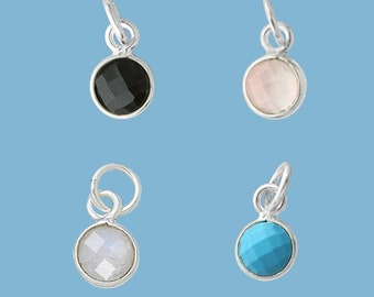Gemstone Accent Charm Sterling Silver 6mm diameter