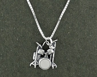 Drum Set Pendant Necklace Sterling Silver Musical Instrument with Box Chain