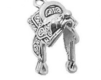 Sterling Silver Horse Saddle Charm Pendant 3d Cowboy Cowgirl