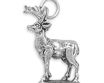 Deer Charm Sterling Silver Pendant 3D Buck with Antlers Animal